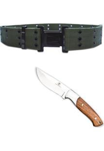 Kit Faca 8'' Fish Em Inox Guepardo Cb0100 + Cinto Militar Tático N.A. Army Vc0101