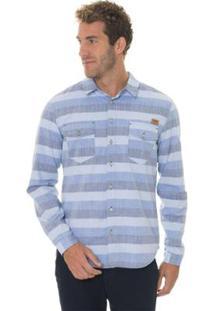 Camisa Timberland Cotton Cool Stripes Masculina - Masculino-Azul