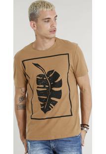 Camiseta Masculina Folha Manga Curta Gola Careca Caramelo