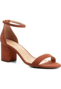 Sandália Couro Shoestock Salto Grosso Feminina - Feminino-Marrom