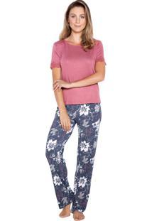 Pijama Inspirate Manga Curta Floral Rosa