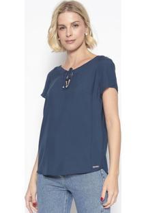 Blusa Texturizada Com Amarração- Azul Marinho- Vip Rvip Reserva