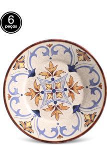 Conjunto 6Pçs Pratos De Sobremesa Mônaco Atrium Porto Brasil