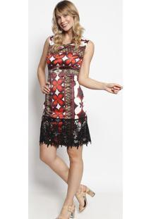Vestido Floral & Acetinado Com Renda- Vermelho & Branco