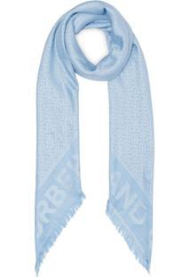 Burberry Echarpe Com Padronagem Monogramada - Azul
