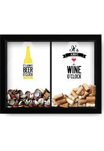 Quadro Adoraria Double Porta Rolha De Vinho E Tampinha De Cerveja Preto