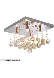 Plafon Quadrado Com Pingentes- Cristal & Champanhe- Hevvy