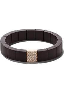Roberto Demeglio 18Kt Rose Gold Domino Ceramic And Diamond Bracelet - Marrom