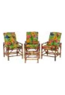 Conjunto Mesa E 3 Cadeiras De Bambu Cancun Para Área Edicula Jardim G19