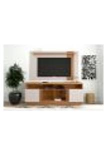Rack Com Painel Extensível Para Tv Até 60 Polegadas Leme Natura Real E Off White Fosco 180 Cm