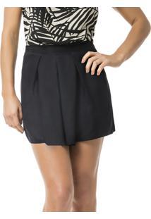 Shorts Cintura Alta Com Pregas Preto Reativo - Lez A Lez
