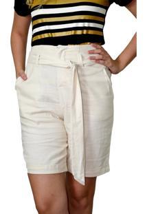 Bermuda Energia Fashion Off-White - Off-White - Feminino - Dafiti
