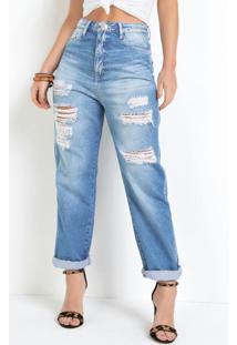 Calça Mom Eventual Com Destroyed Jeans