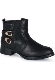 Ankle Boots Feminina Mooncity Recortes Preto