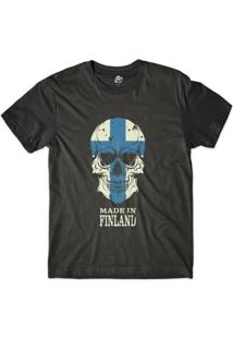Camiseta Bsc Caveira País Finlândia Sublimada Masculina - Masculino-Preto