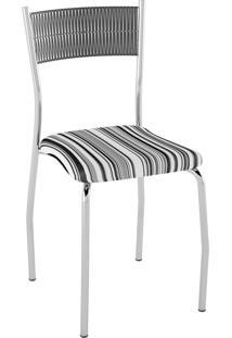 Kit C/ 2 Cadeiras Encosto Preto Assento Listrado Preto Pozza