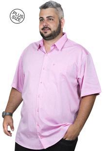 Camisa Plus Size Bigshirts Manga Curta Maquineta - Rosa