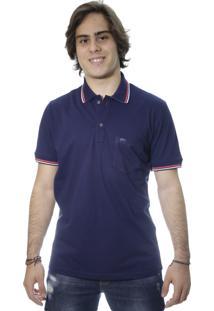 Camiseta Laos Gola Polo Manga Curta Com Bolso Um Azul