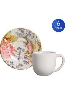 Conjunto 6 Xícaras De Café Com Pires Hortênsia - Porto Brasil - Multicolorido