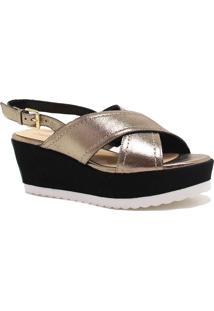 Sandália Zariff Shoes Plataforma Metalizada Dourado