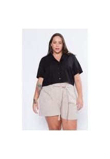 Camisa Almaria Plus Size Tal Qual Cropped Linho Preto