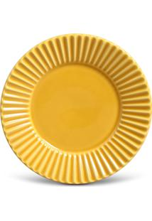 Conjunto 6Pçs Pratos De Sobremesa Porto Brasil Plissê Amarelo