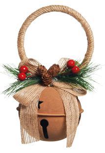 Enfeite Natal Decorativa Guizo Bege Folhas E Cerejas 16Cm