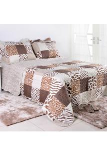 Colcha Ultrassonic + Porta-Travesseiros Queen Leopardo