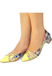 Scarpin Bellatotti Dama Colore Multicolorido Amarelo