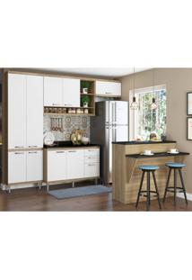Cozinha Completa Com Bancada E Balcão Com Tampo 6 Peças 8 Prateleiras Sicília Multimóveis Argila/Branco