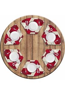 Jogo Americano Love Decor Para Mesa Redonda Wevans Red Geometric Kit Com 6 Pçs - Kanui