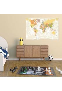 Adesivo Mapa Mundi Fundo Bege