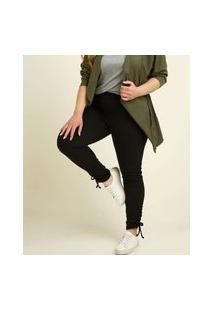 Calça Plus Size Feminina Legging Bolsos Amarração