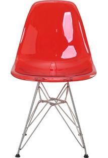 Cadeira Eames Eiffel Rivatti Sem Braço Pc Base Cromada Vermelho Translúcido