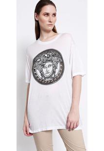 Camiseta Com Seda & Bordado - Branca & Pretaversace