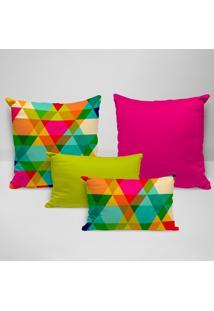 Kit 4 Almofadas Premium Triângulos Coloridos