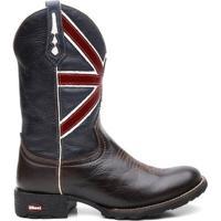 4bb5b68824 Home Calçados Masculinos Botas Fossil. Bota Texana Com Cafe Escuro Bandeira  Da Inglaterra Bico Redondo - Masculino-Marrom+Marinho
