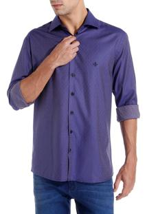 Camisa Dudalina Manga Longa Fio Tinto Maquinetada Masculina (Roxo Escuro, 5)