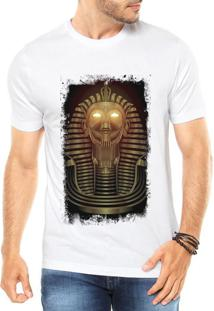 Camiseta Criativa Urbana Faraó Neon Branca