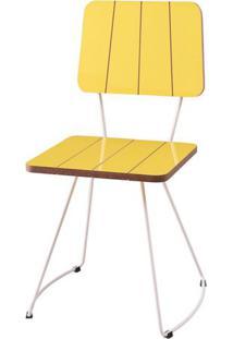Cadeira Santinho Amarela Com Base Curve Branca - 49557 Sun House