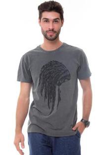 Camiseta D'Affari Estonada Com Estampa Cocar Masculino - Masculino