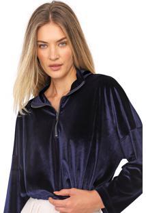 Blusa Cropped Carmim Veludo Azaleia Azul-Marinho