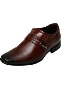Sapato Social Couro Pegada Metal Caramelo