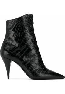 Saint Laurent Ankle Boot Com Cadarço E Efeito Pele De Crocodilo - Preto