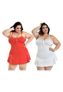 Kit 2 Camisola Plus Size Microfibra Renda Alcinha Vermelho Branco