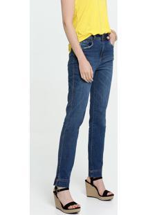 Calça Jeans Reta Feminina Bolsos Marisa