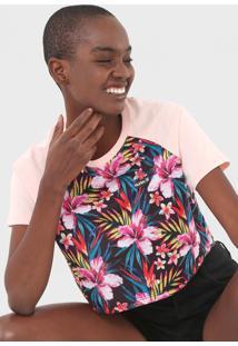 Camiseta Cropped Hurley Raglan Flores Rosa - Kanui