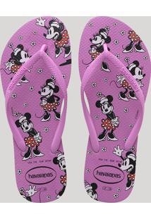 Chinelo Feminino Havaianas Slim Minnie Estampado Pink