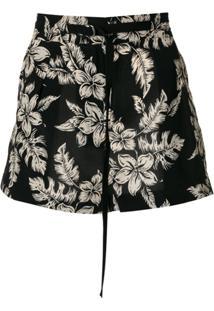 Moncler Shorts De Seda De Cintura Alta - Preto