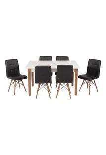 Conjunto Mesa De Jantar Luiza 135Cm Branca Com 6 Cadeiras Gomos - Preto